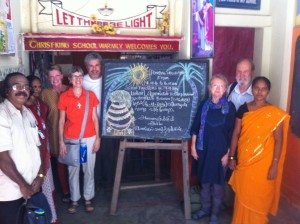 The teachers at Christ School greet our volunteers for Pongal