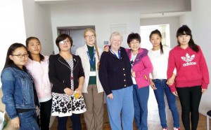 Claudia and Mary with their wonderful hostesses,  students and teachers for a dumpling party