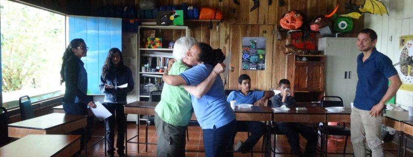 Global Volunteer Barb Chase saying goodbye at high school in Costa Rica