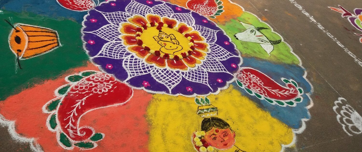 Volunteers Become Judges of a Kolam Competition in India