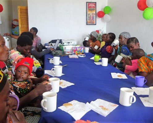 Mothers attend a health workshop in rural Tanzania