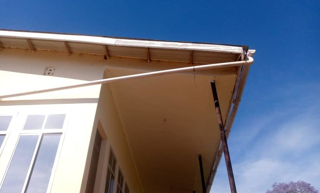 Gutter and pipe for the water harvesting system.